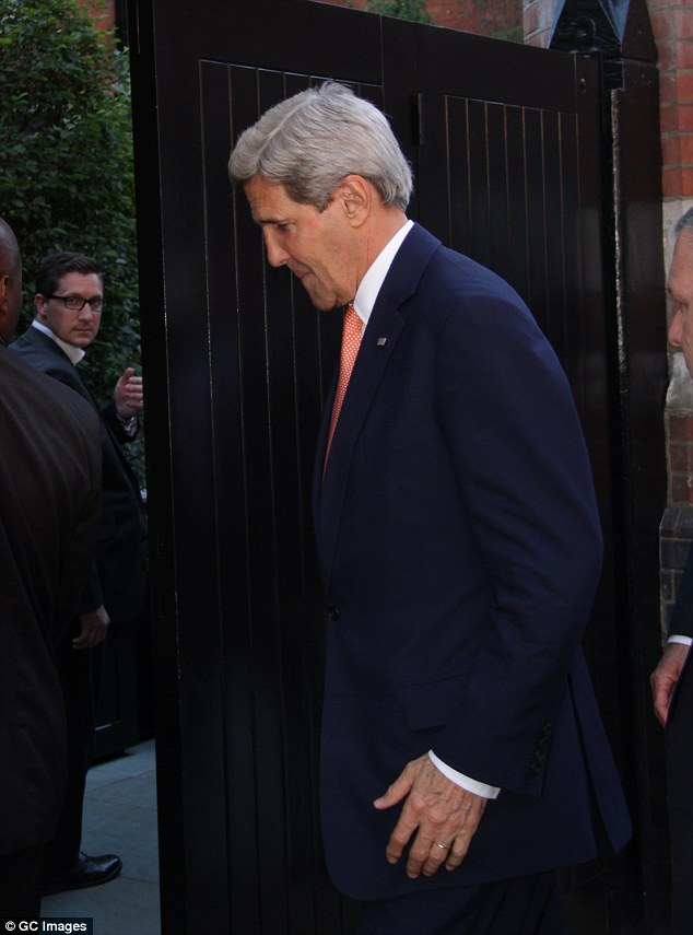 Break: Kerry, who is in the UK for a global summit on sexual violence, was seen arriving at the A-lister venue