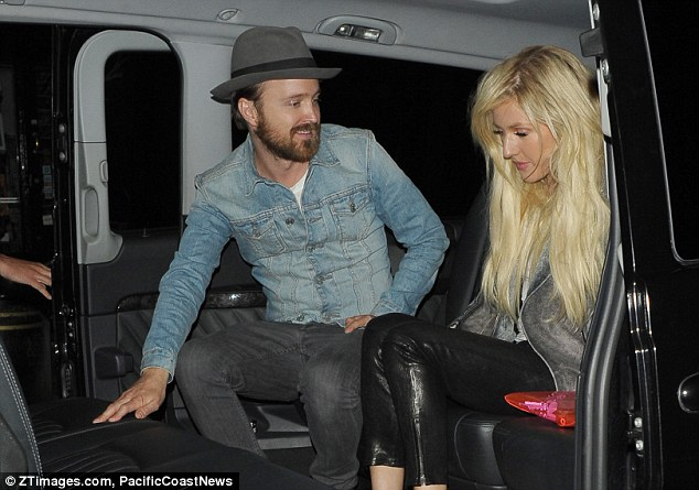 Celeb fave: Breaking Bad star Aaron Paul and Ellie Goulding were seen arriving together at the Chiltern Firehouse