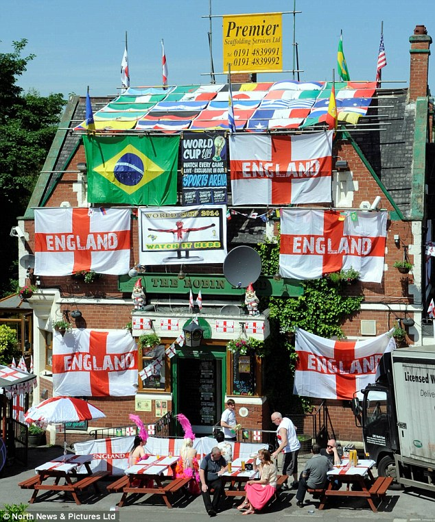 United nations: The Robin Hood pub in Jarrow, South Tyneside, was smothered in national flags