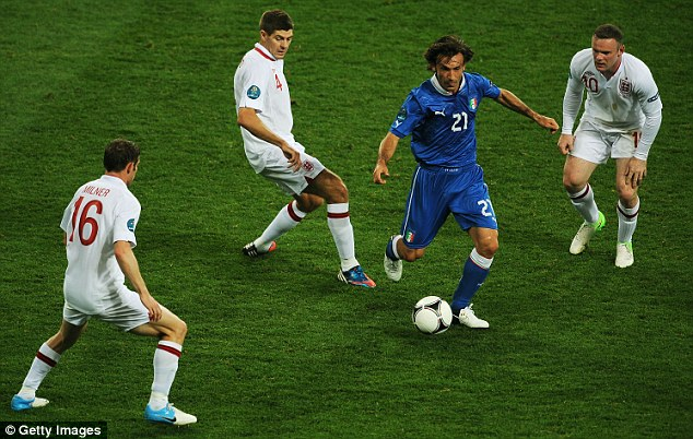 The human carousel: Andrea Pirlo (second right) mesmorises England's players during Euro 2012