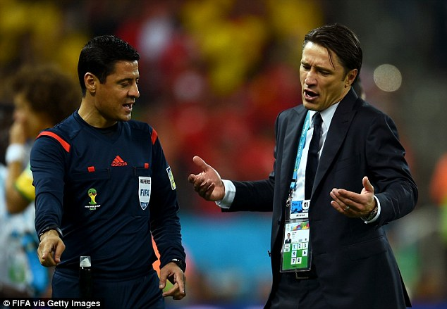 Raging: Croatia coach Niko Kovac was furious with the match officials after the game