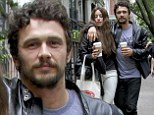 Getting friendly with Franco! James and co-star Amber Heard walk with their arms around each another as they film The Adderall Diaries