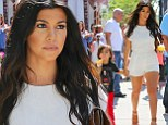 Pregnancy cravings? Kourtney Kardashian shows off legs in tiny playsuit as she treats herself and son Mason to ice cream