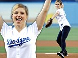 She's a natural talent! Sophia Bush is ecstatic after throwing first pitch at Dodgers game