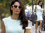George Clooney¿s fiancée Amal Alamuddin nails spring time chic in ice blue skater dress as she runs errands