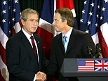 Tony Blair, right, pictured alongside George W Bush, left claimed their handling of the Iraq war is not responsible for the current crisis facing the country