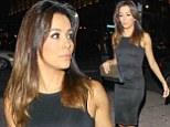 Eva Longoria shows off her incredible figure in tight-fitting LBD as she arrives to LA Kings hockey game