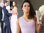 Eva Longoria looks stunning in a purple Grecian gown as she assumes bridesmaids duties for a friend's wedding