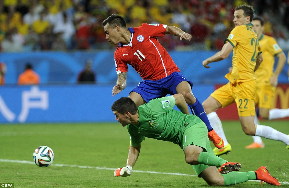 Chile's Eduardo Vargas in action with goalkeeper Ryan, who plays also plays for the Belgian Pro League's Club Brugge KV