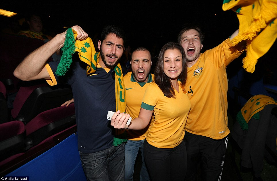 Passionate Socceroos fans wore Australian jerseys to a live screening of the game against Chile and with Cahill's goal in the first half, the supporters went into overdrive as Australia's chances were given a major boost