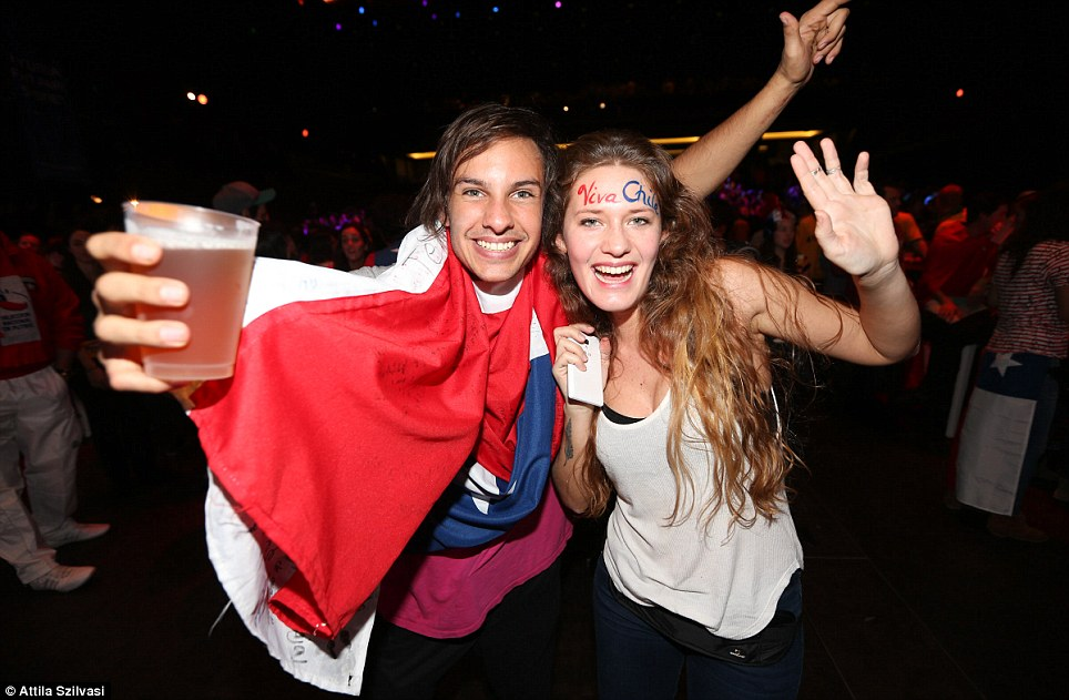 Chilean fans also cheered on their team and were ecstatic to see the side take down Australia 3-1