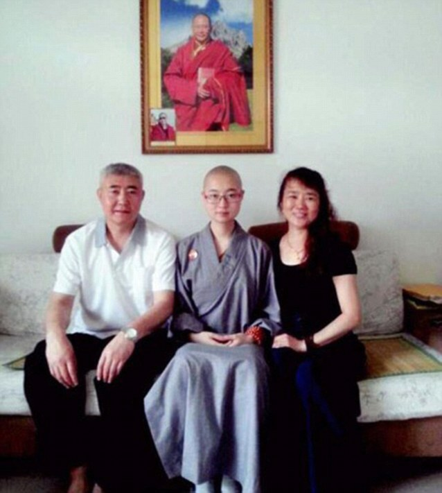 After posting a photo of herself online in her new life, Ting, pictured here with her parents, became a hit across China