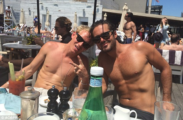 Sun's out, guns out: Spencer and Jamie enjoyed a spot of sunbathing this week at an exclusive members rooftop pool in NYC