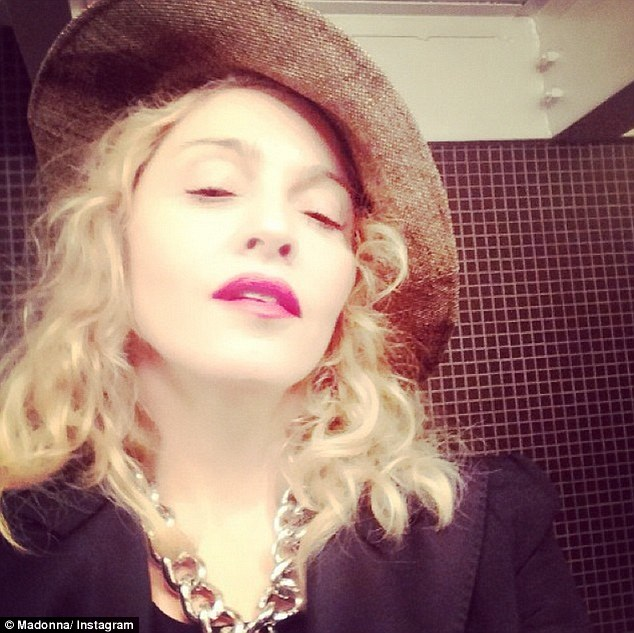 Never one to stay quiet: Madonna has been busy tweeting this week too and shared this picture of herself wearing a hat that looked just like the one worn by frequent collaborator Pharrell Williams