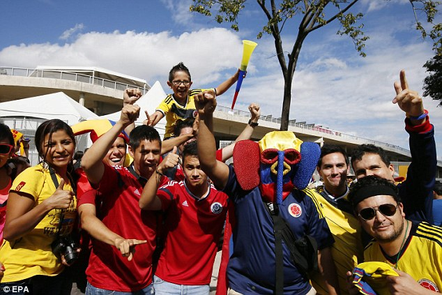 Cheer we go: Colombian fans cheer for their team ahead of their 2014 World Cup campaign