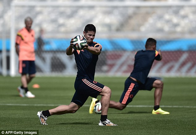 Talent: Colombia's midfielder James Rodriguez (centre) will be one to watch during the World Cup