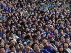 Japanese fans watch the live broadcast of the 2014 FIFA World Cup match between Japan and Ivory Coast during the public viewing event at the Noevir Stadium Kobe on June 15, 2014 in Kobe, Japan. Ivory Coast beat Japan 2-1.