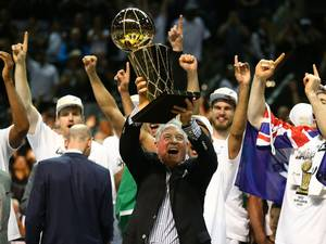 15 June 2014: San Antonio Spurs owner Peter Holt celebrates with the Larry O'Brien trophy after defeating the Miami Heat to win the 2014 NBA Finals at the AT&T Center in San Antonio, Texas