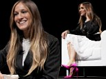Stylish star: Sarah Jessica Parker brightened up her monochrome outfit with some bright Fuchsia shoes for her talk at Cannes Lions 2014