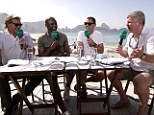 Chiles (right) cuts a fatherly figure as the ITV pundits hit the beach for Switzerland v Ecuador