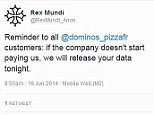 A lot of dough: Hackers Rex Mundi claim to have swiped the passwords of 650,000 Domino's Pizza customers in France and Belgium, and are threatening to publish them if a ¿30,000 (£23,892) ransom is not paid. They recommended that customers should take legal action (pictured) if the pizza company does not pay up