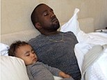 Sweet dreams! Kim Kardashian shares adorable snapshot of Kanye West slumbering with birthday girl North West on Father's Day