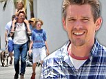 Ethan Hawke spent Father's Day at the beach in Santa Monica with three of his four children