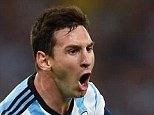 In with a shout: Lionel Messi roars with delight after scoring Argentina's second goal