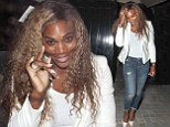 Serena Williams nails off-duty chic in white blazer and distressed jeans as she enjoys night out at the Chiltern Firehouse ahead of Wimbledon