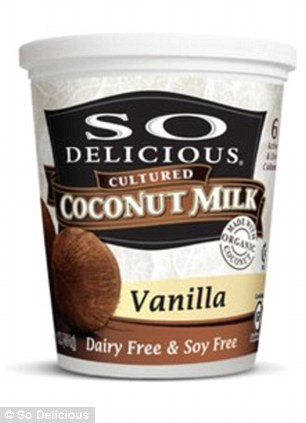 Eating right: The 30-year-old stocked up on dairy free yoghurt and coconut water