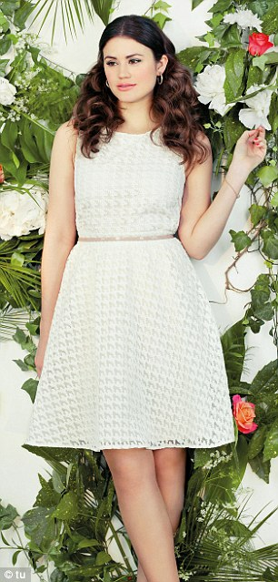 Racy lace: There are plenty of waist-clinching summer lace separates in the new range (top, £22, skirt, £33)