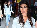 Style Jeanius: Pregnant Kourtney Kardashian covers her bump in double denim as she steps out for dinner with sister Kim