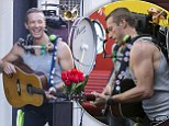 Coldplay's Chris Martin flexes his impressive biceps while filming music video in Sydney (well, he did marry a fitness junkie!)