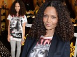 Disco diva! Thandie Newton rocks Grace Jones graphic print tee and a mass of natural ringlets at men's jewellery launch in London