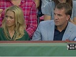 Having fun? Brendan Rodgers and girlfriend Charlotte Hinds watch the Red Sox's 1-0 win over Minnesota Twins