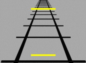 The Ponzo track illusion, where the bottom line seems smaller than the top line but they are actually the same size
