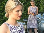 Dianna Agron looks elegant in patterned midi-dress and updo as she dines out with friends in West Hollywood