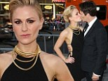 Anna Paquin dazzles in short black frock as she steals a tender kiss with husband Stephen Moyer at True Blood premiere