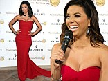 Quite the sweetheart: Eva Longoria steps out in sweeping floor length red-dress to collect award for humanitarian work at Taormina Film Festival