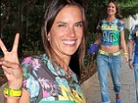 Soccer fan: Alessandra Ambrosio was pictured in Sao Paulo, Brazil on Tuesday for the World Cup