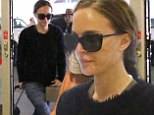 Long flight: Natalie Portman dressed for comfort on Tuesday as she headed into Los Angeles Airport for an overseas flight to Shanghai, China