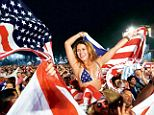 Everyone wins: Fans of the U.S. team in Rio de Janeiro celebrate Monday's win. Spanish language channel Univision is also celebrating after it saw more soccer viewers than ever before as well, with 4.8million