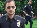 Justin Theroux is off to a running start as he films scenes for eerie new show The Leftovers in New York