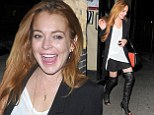 It's her home away from home! Lindsay Lohan shows off her legs in thigh high boots as she once again hits Chiltern Firehouse