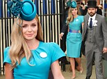 Katherine Jenkins highlights her slender figure in fitted blue shift dress as she attends Royal Ascot Ladies¿ Day with fiancé Andrew Levitas