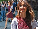 Lacy in red! Chris Martin's pal Alexa Chung steps out solo in NYC wearing sexy mini-dress