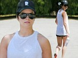Another day another workout! Jaimie Alexander keeps herself trim, toned and terrific with a gruelling hike.... and shows off her results in tiny shorts