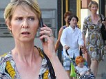 Mother and sons: Cynthia Nixon stepped out with her sons Charles and Max on Wednesday in New York City