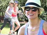 A date with nature! Kristen Bell enjoys a spirited makeup free jog with a female friend