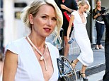 Naomi Watts stuns in plunging white dress and sky-high stilettos